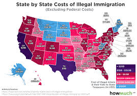 Map Of American States Map Illegal Immigration Costs California Most 23b All States 89b