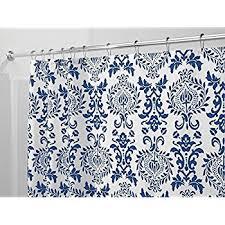 Narrow Shower Curtains For Stalls Amazon Com Victoria Park Toile Bathroom Shower Curtain Blue