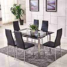 Modern Dining Room Glass Table  Chair Sets EBay - Dining table in kitchen