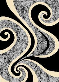 2 X 5 Area Rugs Arlington Collection Black And Gray Contemporary Waves Abstract