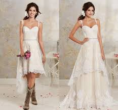 discount casual light chagne lace high low country wedding - Casual Country Wedding Dresses