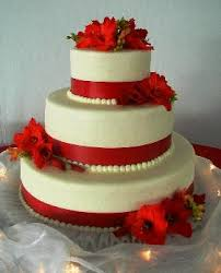 one stop wedding white and red wedding cakes