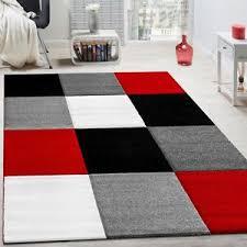 tappeto moderno rosso tappeto moderno soggiorno pelo corto motivo quadri rosso nero