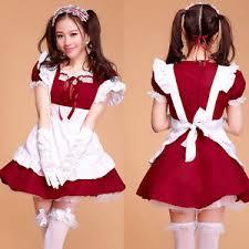 Ebay Size Halloween Costumes Cosplay Red Maid Costume Women Halloween Dress