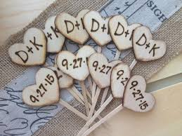 carved bridal cupcake toppers personalized wood hearts with carved initials