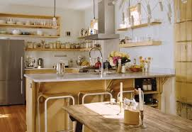 Kitchen Oak Wood Open Kitchen Shelving Ideas Attractive And