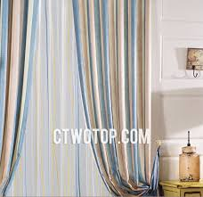 Blue And Brown Curtains And Blue Casual Fabric Traditional Custom Striped Curtains No