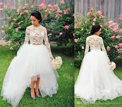 discount country high low wedding dresses long sleeves white lace