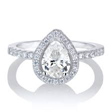 teardrop diamond ring 2ct cz pear cut halo engagement ring