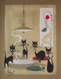 retro martini drawing sold for 191 12 el gato gomez painting retro 1950s cat mid