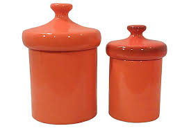 ceramic kitchen canisters orange ceramic kitchen canister set beckon gallery