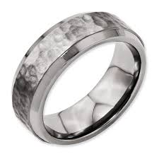 titanium mens wedding bands titanium 8mm beveled edge hammered and polished men s wedding