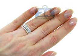 stackable diamond rings womens diamond stackable wedding rings set 18k gold 1 80 ct