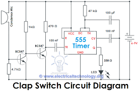 clap to turn off lights clap switch circuit electronic project using 555 timer electronics