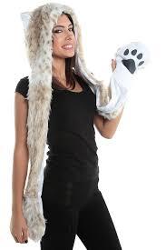 Snow Leopard Halloween Costume Snow Leopard Faux Fur Animal Hood Hoodie Hat Paws