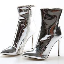 womens boots knee high leather style metallic mirror leather silver knee high boots autumn