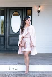 wedding guest blush pink ruffle dress crepe jacket