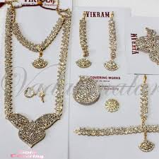 white stones necklace set images Kuchipudi jewellery 10 pcs white stone indian bridal wedding jpg