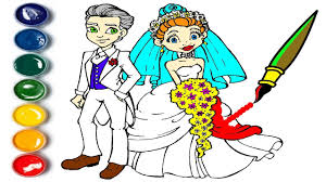 bride groom coloring learn colors