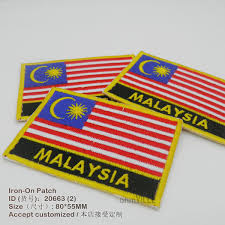 Customized Flag New Malaysia National Flag Embroidered Patch Iron On Patches For