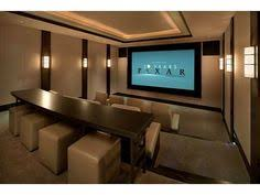 Home Theater With Stadium Seating With Sofas In Dark Grey Color - Home theatre design