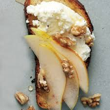 pear walnut and ricotta crostini