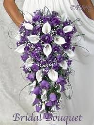 Purple Wedding Bouquets Calla Lilies Cascading Bouquets Bridal Cascade Wedding