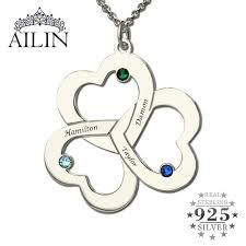 wholesale love necklace images Wholesale triple heart name necklace silver engraved birthstone jpg
