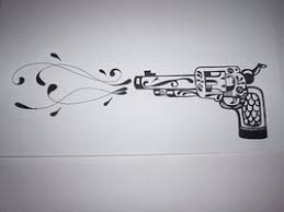 gun shooting out hearts tattoo pistol tattoos designs and ideas