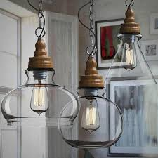 Glass Shade Chandelier Northic Wood Cap And Clear Glass Shade Pendant Lighting 10357