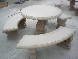 Concrete Patio Table Bench Design Astounding Concrete Patio Table And Benches