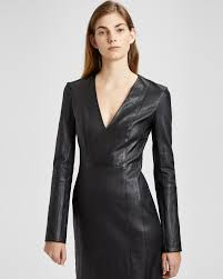 leather dress leather v neck mini dress theory
