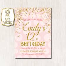 Gold Invitation Card 12th Birthday Invitation Pink And Gold Birthday Invitation