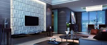 latest colour combination living room with textured wall and