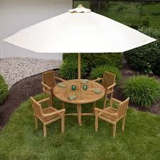Patio Dining Set With Umbrella - orlando teak outdoor round dining table set outdoor
