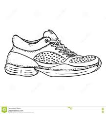 vector sketch illustration side view running shoes stock