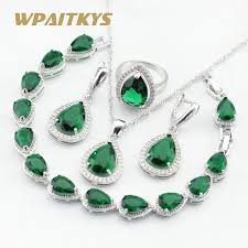 green stones necklace images Silver color jewelry sets for women green stones white cz bracelet jpg