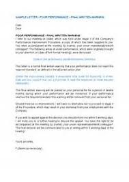 final written warning letter template letter of recommendation