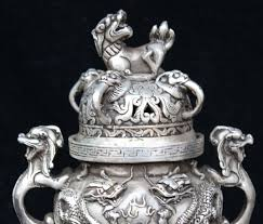 silver lion statue scy marked silver lion statue two play bead incense