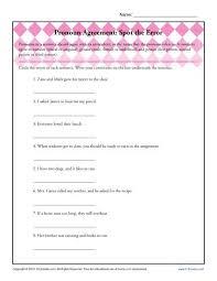 pronoun agreement spot the error pronoun agreement worksheet