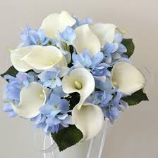 wedding flowers ebay white calla blue hydrangea wedding bouquet posy flower