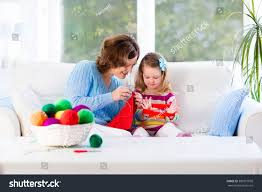 mother daughter knitting woolen scarf mom stock photo 380951938