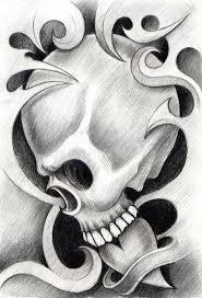 art skull heart tattoo stock illustration image of drawing