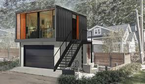 get attractive design of small prefab homes with affordable prices use unusual small prefab homes design from used container above black garage door