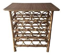 Wine Bar Table Bamboo Rattan Wine Rack Bar Table 1856