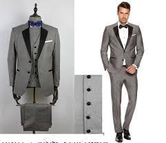 2016 custom grey mens suits black lapel slim fit wedding suits for