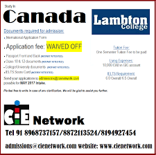 c i e study in canada lambton college application fee waiver