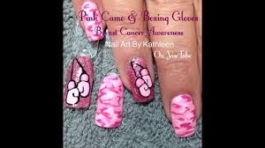 pink camo u0026 boxing gloves nail art for breast cancer awareness