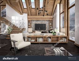 3d rendering living room kitchen dining stock illustration 3d rendering of living room kitchen and dining room and stair are combined in one