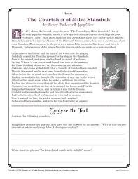 thanksgiving worksheet the courtship of standish